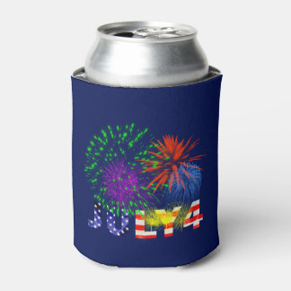 4th of July Fireworks Can Cooler