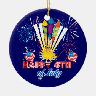 4th of July Fireworks Fun Ceramic Ornament