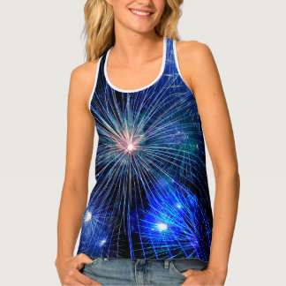 4th of July Fireworks in Blue Hue Happy 4th Tank Top