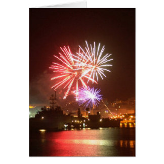 4th of July Fireworks in the Harbor Greeting Card