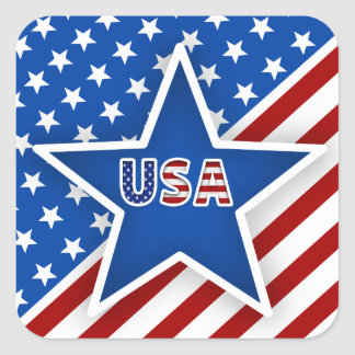 4th of July Flag - Blue Star/USA Square Sticker