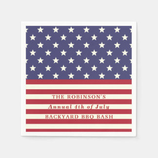 4th of July Flag Patriotic Stars Stripes | Custom Paper Serviettes