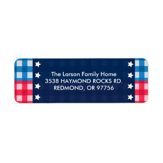 4th of July Gingham Picnic Address Labels