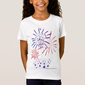 4th of July Girls Baby Doll Fitted Shirt