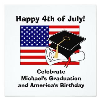 4th Of July Graduation Party Invitation Cap