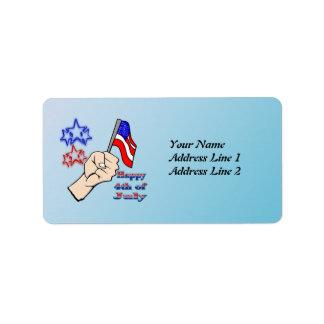 4th of July - Hand Holding Flag Address  Label Address Label