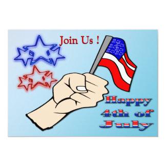 "4th of July - Hand Holding Flag Invitation 5"" X 7"" Invitation Card"