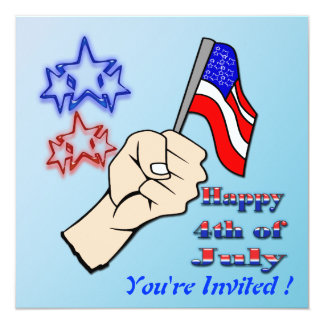"4th of July - Hand Holding Flag Invitation 5.25"" Square Invitation Card"