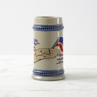 4th of July - Hand Holding Flag stein Mugs