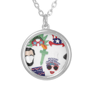 4th of July holiday - Independence Day Silver Plated Necklace