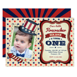 4th Of July Kids 1st Birthday Party Invitation