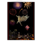 4th of July Kitty and Fireworks Card
