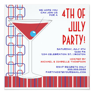 "4th of July Martini Cocktail Party Invitation 5.25"" Square Invitation Card"