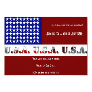 4th of July Modern USA Flag Graphic 9 Cm X 13 Cm Invitation Card