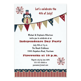 4th of July Owl Party Card