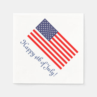 4th of July paper napkins with American flag Paper Napkin