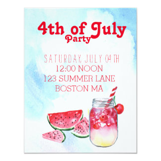 4th of July party barbecue Invitation