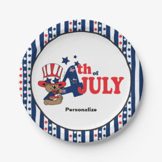 4th of July Party Celebration Bear 7 Inch Paper Plate