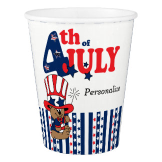 4th of July Party Celebration Bear Paper Cup