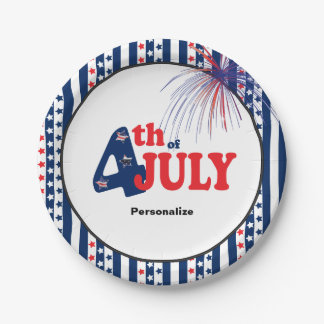 4th of July Party Celebration Paper Plate