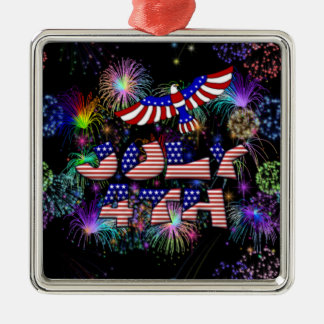 4th of July Party Silver-Colored Square Decoration