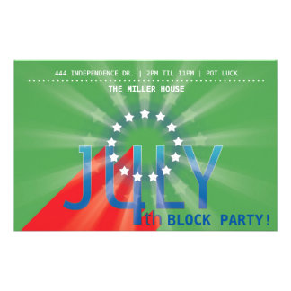 4th of July Party (green) 14 Cm X 21.5 Cm Flyer
