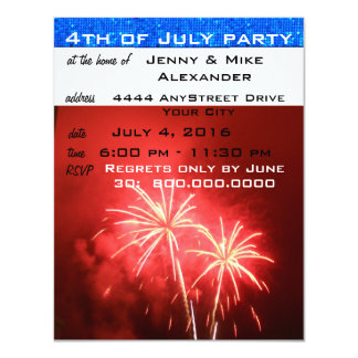 4th of July Party 4.25x5.5 Paper Invitation Card