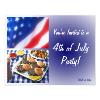 4th of July Party Invitation, Burgers & Flag Card