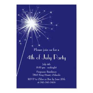 4th of July Party Invitation with Sparklers