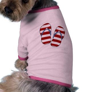4th of July Patriotic American Flag Flip Flops Pet Tee Shirt