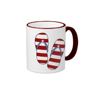 4th of July Patriotic American Flag Flip Flops Coffee Mug