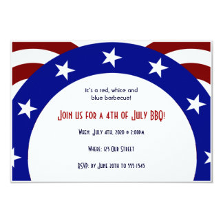 4th of July Patriotic Circle of Stars 9 Cm X 13 Cm Invitation Card