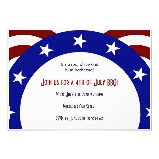 4th of July Patriotic Circle of Stars Custom Invites