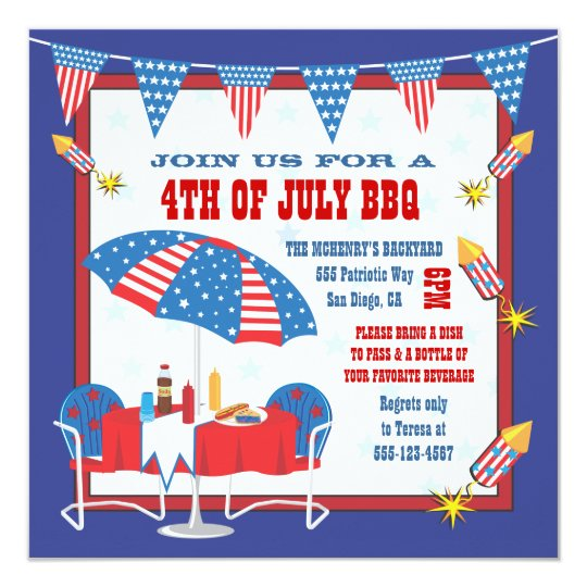 4TH of July Patriotic Picnic BBQ Party Invitation