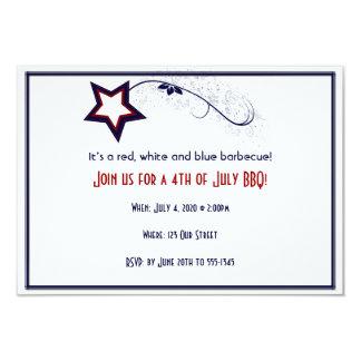 4th of July Patriotic Star Light 9 Cm X 13 Cm Invitation Card