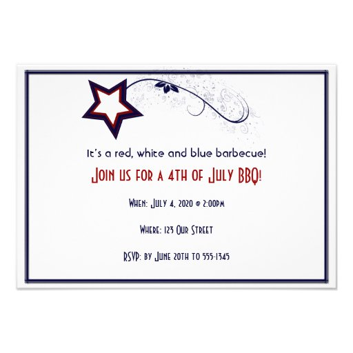 4th of July Patriotic Star Light Custom Announcements