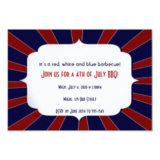 4th of July Patriotic Starburst Red White Blue 9 Cm X 13 Cm Invitation Card