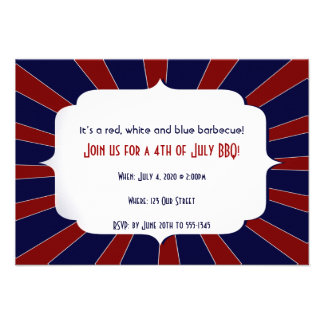4th of July Patriotic Starburst Red White Blue Announcements