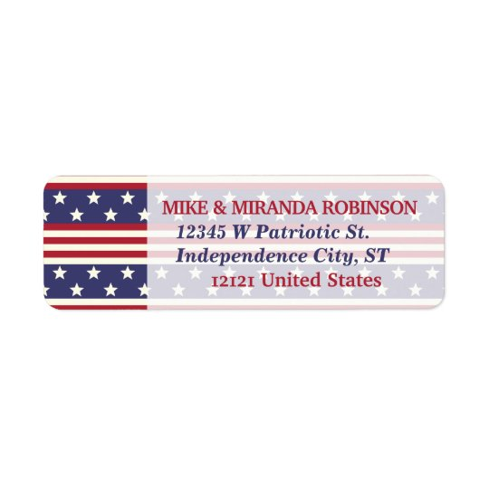 4th of July Patriotic Stars and Stripes USA Flag Return Address Label