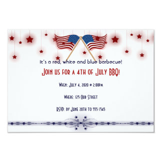 4th of July Patriotic US Flags and Stars 9 Cm X 13 Cm Invitation Card