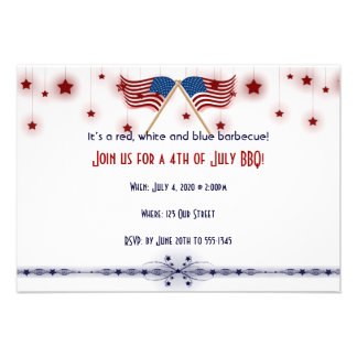 4th of July Patriotic US Flags and Stars Custom Invite