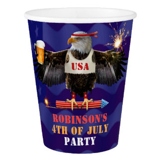 4th of July Patriotic USA Eagle Beer and Fireworks