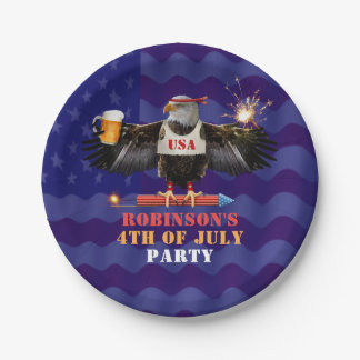 4th of July Patriotic USA Eagle Beer and Fireworks 7 Inch Paper Plate