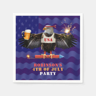 4th of July Patriotic USA Eagle Beer and Fireworks Paper Serviettes