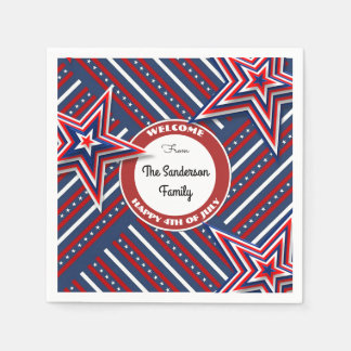 4th Of July Personalized Disposable Serviettes