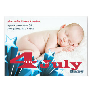 4th of July Photo Birth Announcement