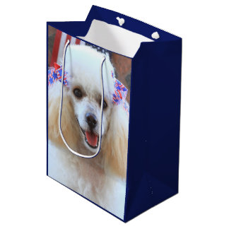 4th of July poodle dog medium Gift Bag