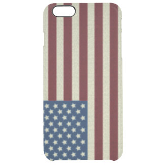 4TH Of July  Red White And Blue American Flag Clear iPhone 6 Plus Case