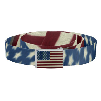 4TH Of July Red White And Blue American Flags Belt