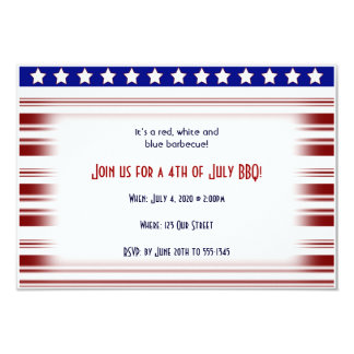 4th of July Red White and Blue Candystripe 9 Cm X 13 Cm Invitation Card